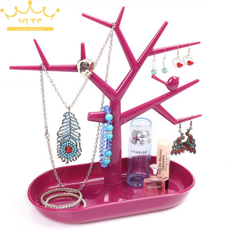 Hot Sales Fashion TC Jewelry Necklace Ring Earrings Bird Red Tree Stand Display Organizer Holder Rack