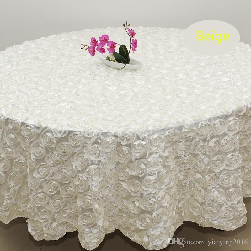 2.4m White Color Wedding Table Cloth Round Overlays 3d Rose Petal Round  Tablecloths Wedding Decoration Supplier White Tablecloths For Sale White  Cloth ...