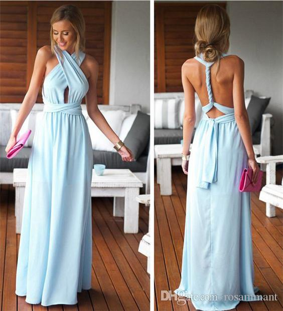 Charming Light Blue Vestido Maxi New Arrival Partido barato Longo Prom Dress vestido de noite
