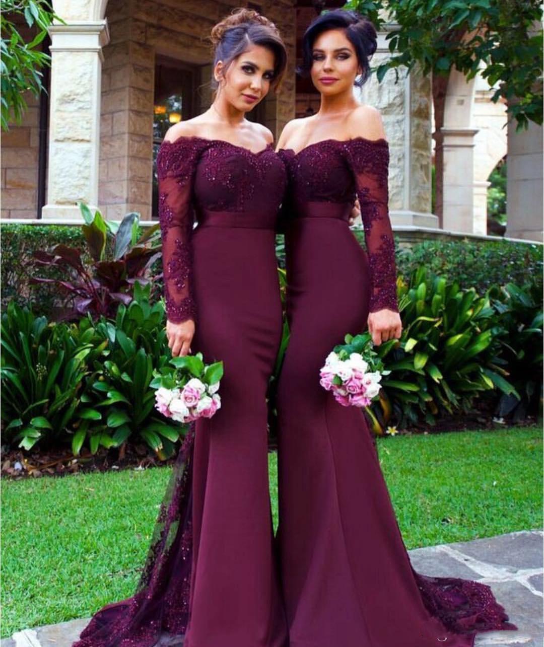 Mangas largas púrpuras Vestidos de dama de honor Mermaid Off Hombro País Vestido de dama de honor Vestidos Junior Vestidos de encaje Vestido de invitado de boda barato