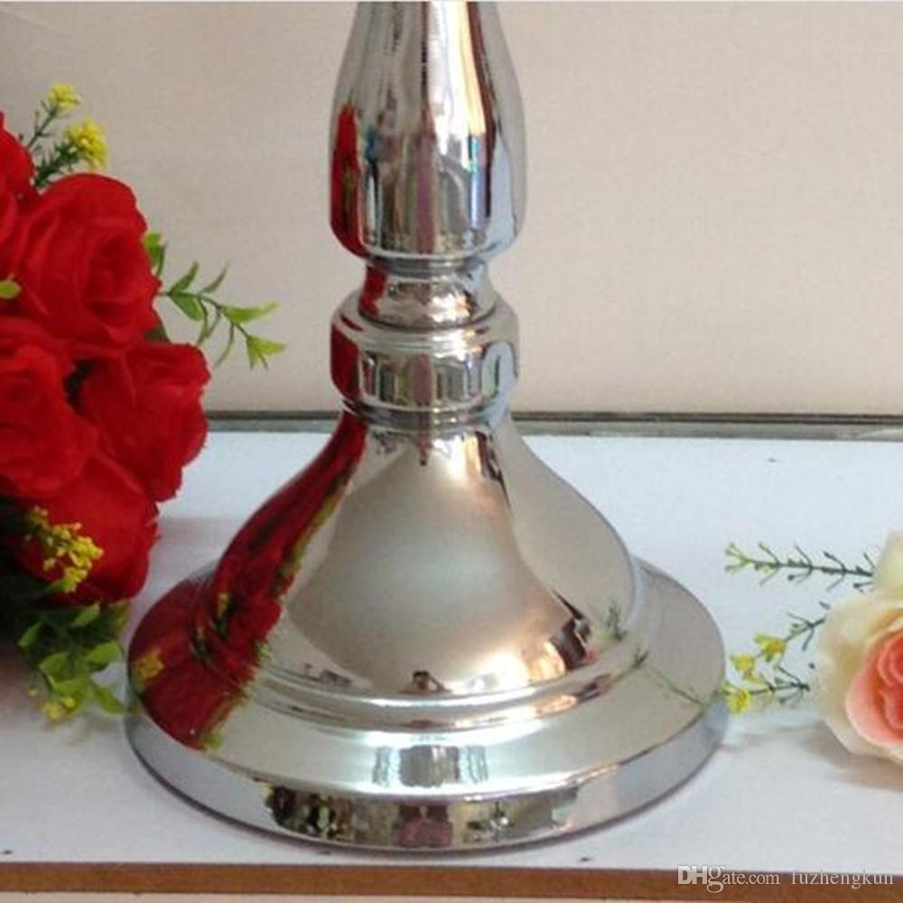 Classic silver finish wedding candle holder with crystals event or party candle stand home decor metal candlestick 1 =