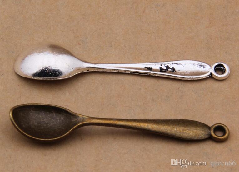 Новый 2 цвета античная бронза античное серебро 100 шт. мини ложка кукольный домик миниатюрная игрушка ювелирные изделия Шарм бисера находка 55 x 11 мм Бесплатная доставка