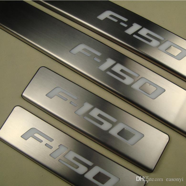 Edelstahl außen beleuchtet Türschwellenverschleißplatte für 2009-2014 Ford Raptor F-150 F150 beleuchtet Welcome Pedal Trim Car Styling