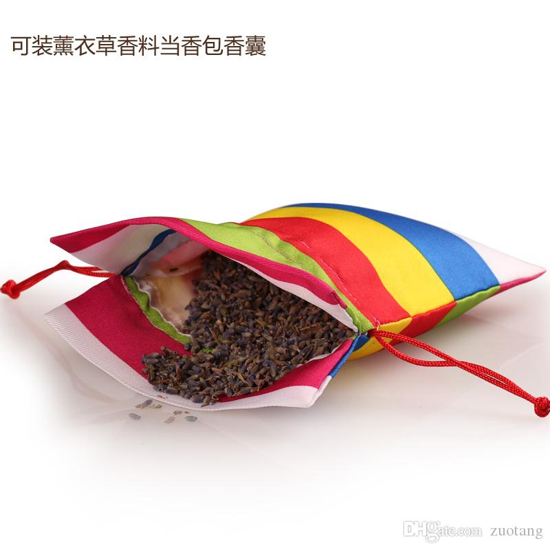2016 New Stripe Fabric Gift Pouch Packaging Bag Drawstring Craft Empty Lavender Sachet Spice Tea Pouches Christmas Birthday Party Favor Bags