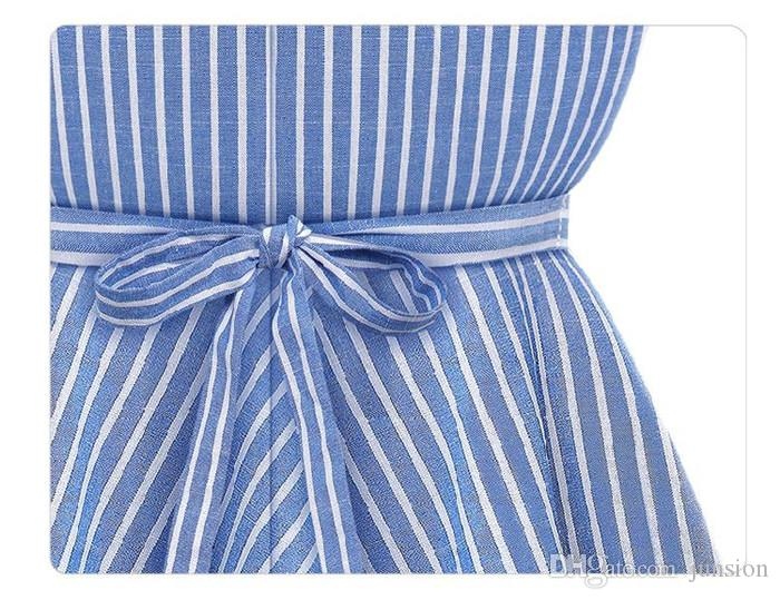Ladys Dresses Newest Casual Beach Dress Striped Skirt Casual Sleeveless Big Size S-XL Solid V Sexy Plus Size Women Clothing