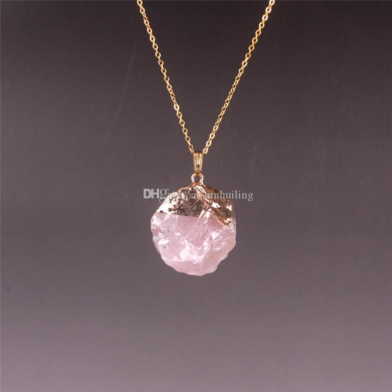 Smoky Quartz Green Prehnite Natural Stone Rough Gemstone Beads Necklace Amethyst Pick Colors Pink White Crystal Pendant Necklace Gold Plated