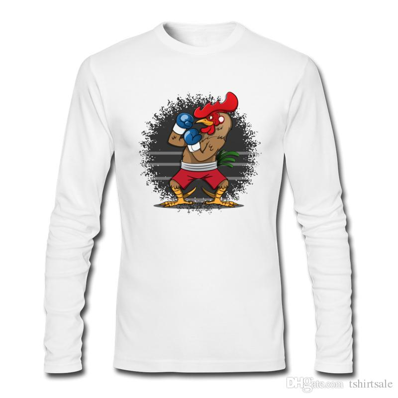 Boxing Rooster Cartoon Printed Tee Shirt Customized Outdoor Snug ...