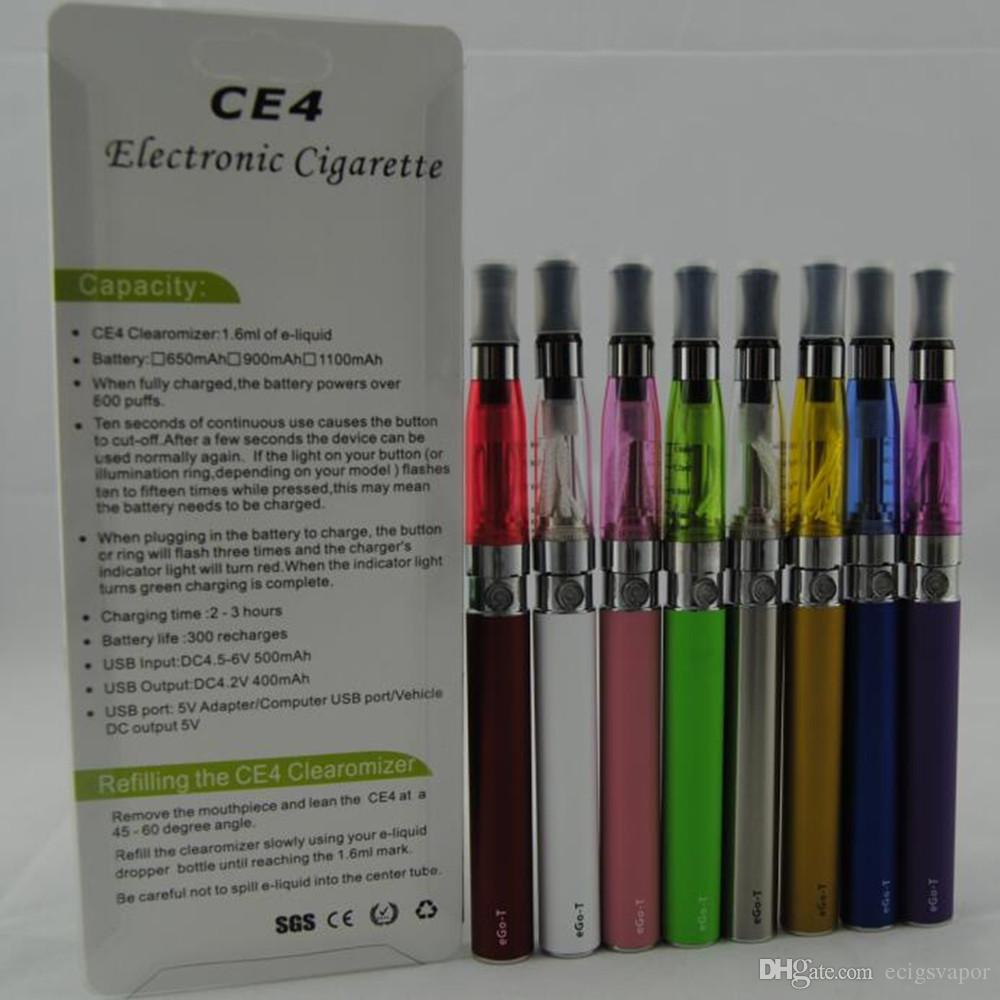 Ecigs eGo CE4 Blister kit CE4 Vaporizer Atomizer 650mah 900mah 1100mah colourful ego battery vape pens VS EVOD MT3 CE5 starter Kits