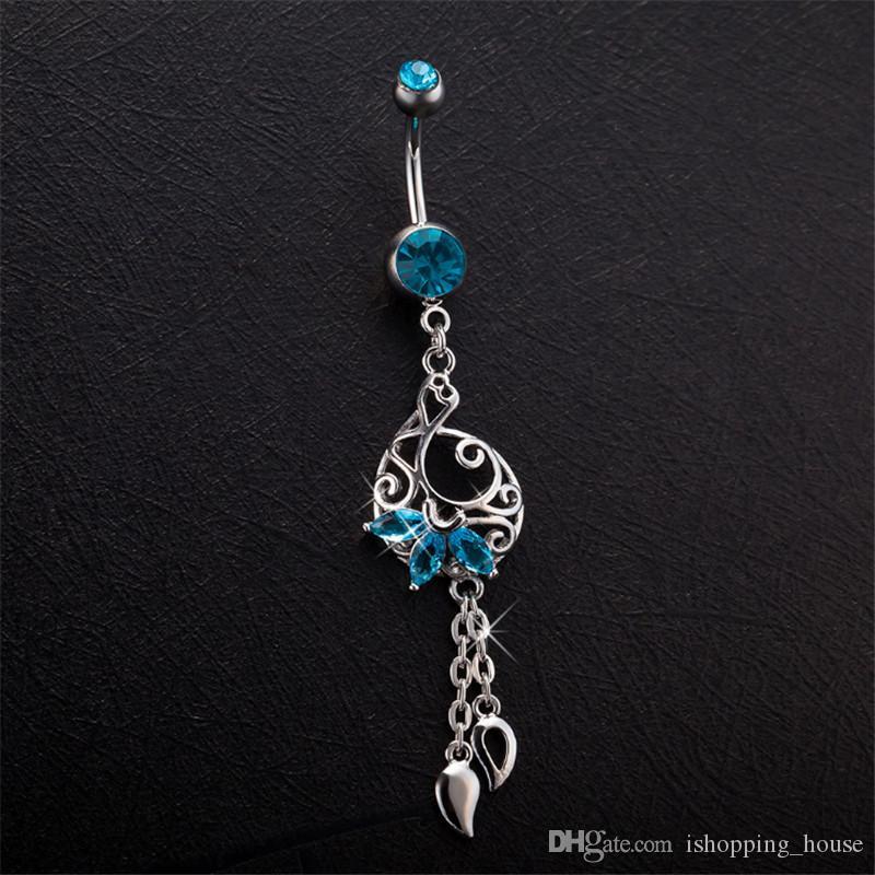 Vente chaude de haute qualité bleu goutte de goutte de goutte nombril boucle Bar Bell Bell Boîte Bagonnettes femmes piercing navel corps bijoux BR-018