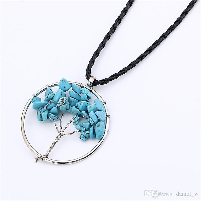 Großhandelspreis Regenbogen Chakra Amethyst Baum des Lebens Quarz Chips Anhänger Halsketten für Frauen Weisheit Baum Naturstein Europäischen Halskette