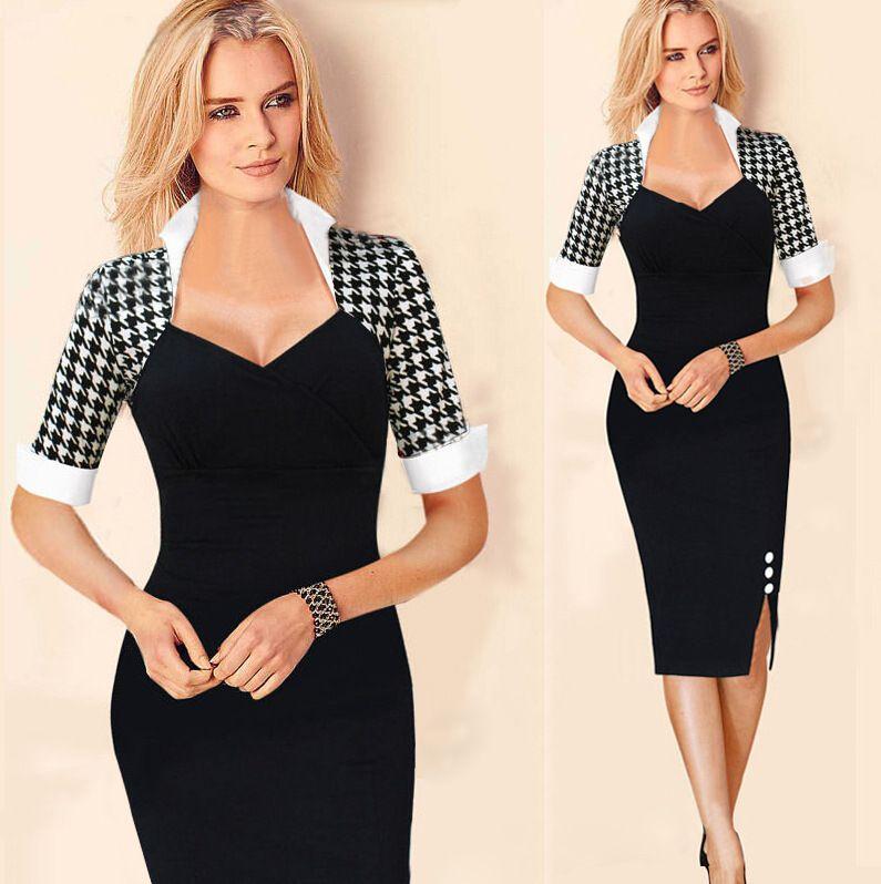 2017 New Fashion Women Work Dress Pencil Skirt Black Plaid Polak ...