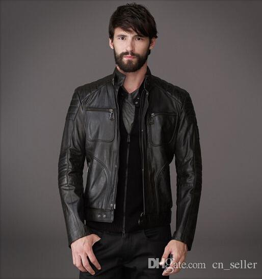 Designer Leather Jackets Men Short Slim Casual Jackets Muscle Fit ...
