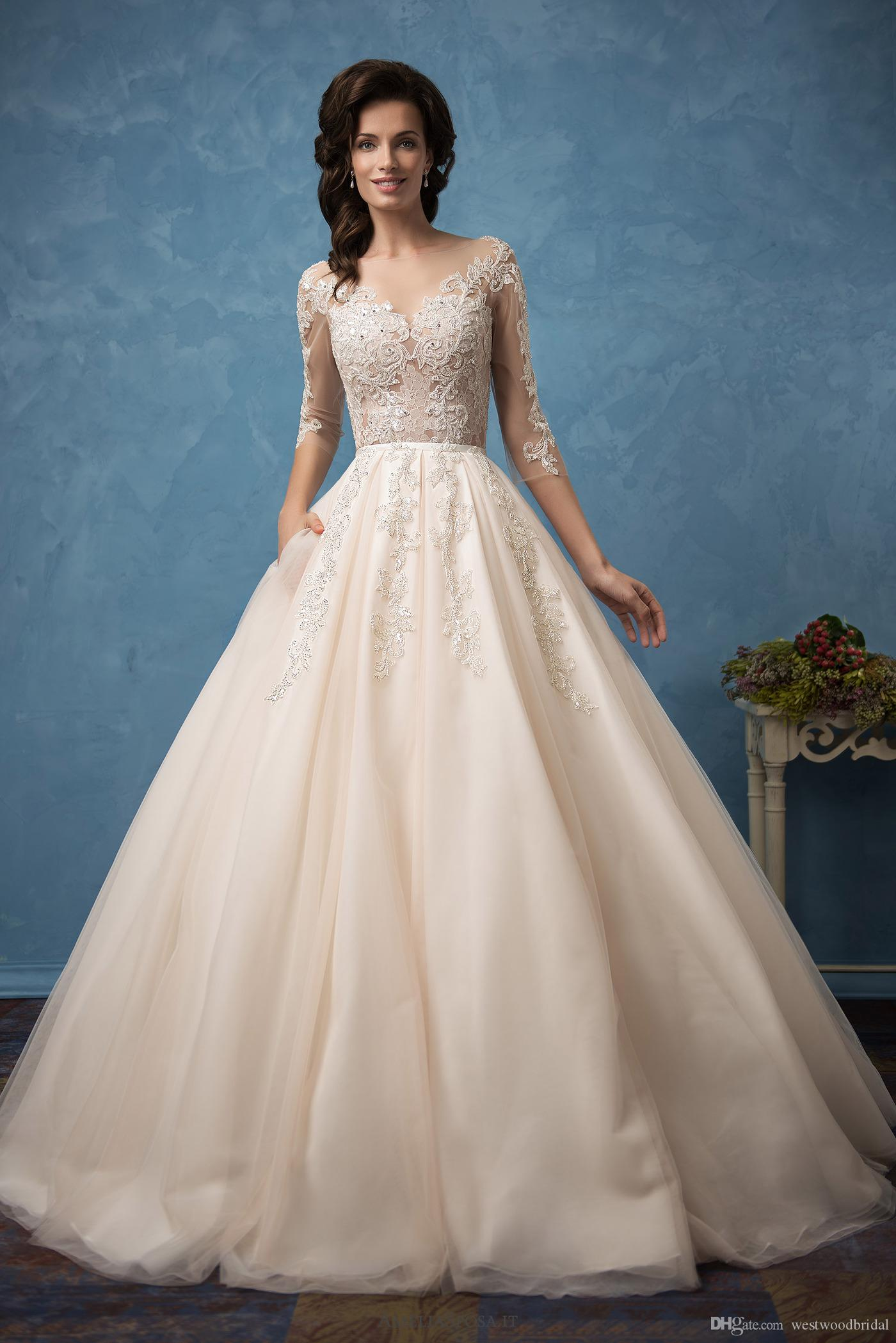2018 Overskirts Wedding Dress Amelia Sposa Cornelia Lace Ball Gown ...