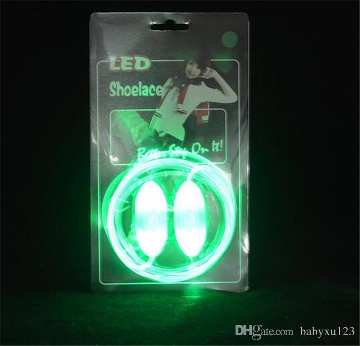 300 adet 10 tasarımlar = 2 adet Yanıp Sönen LED Ayakkabı bağcık Fiber Optik Ayakkabı Bağı Aydınlık Ayakkabı Danteller Light Up SPersonality ...