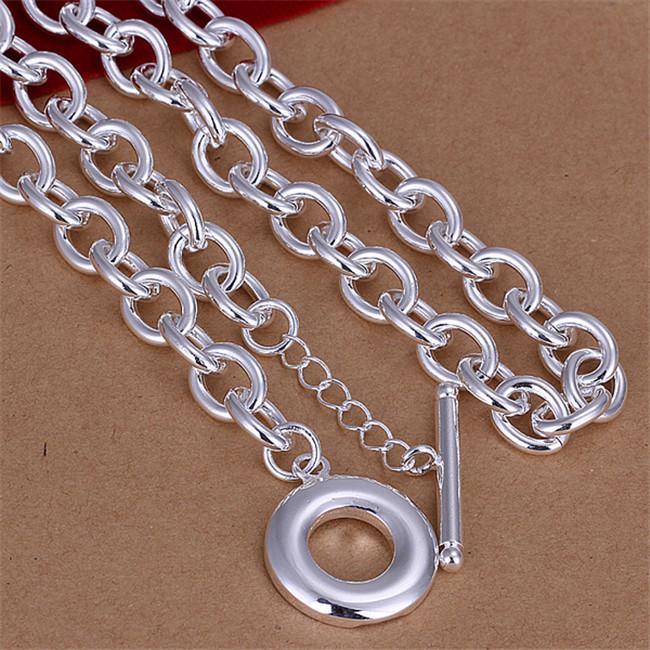 Vente en gros pour collier de modèles masculins sans mots sterling argent plaqué collier STSN101, Mode 925 Silver Chains Collier Factory Direct