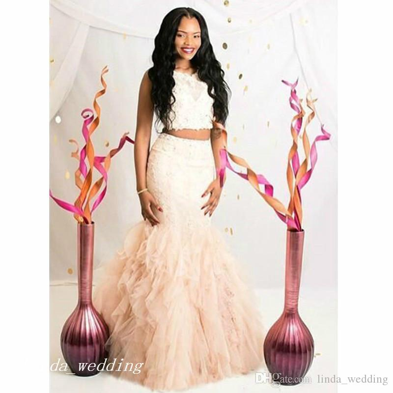 Beautiful Two Pieces Mermaid Prom Dress Cream Fuchsia Ruffle Backless Black Girls Women Wear Special Occasion Dress Evening Party Dress 2016