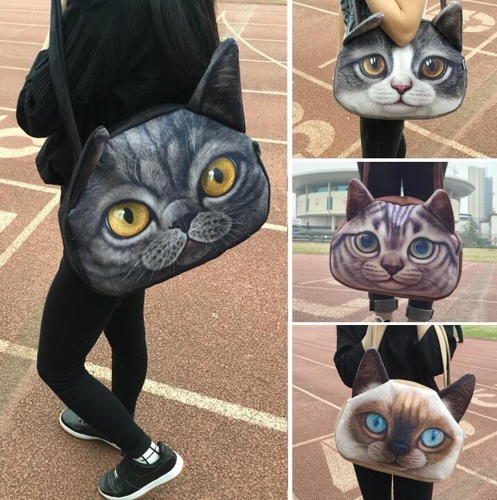3D Cat Face Female Handbag Messenger Bag Animal Canvas Shoulder Bag Face CAT  Shoulder Bag Tote Handbag LJJK808 Wholesale Bags Over The Shoulder Bags  From ... c6324adfac95a
