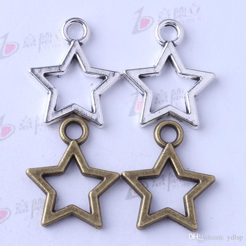 Estrella colgante de plata antigua / bronce en forma de collar 21.3 * 17.3 mm joyería de DIY encantos de la aleación de zinc 200 unids / lote 3347