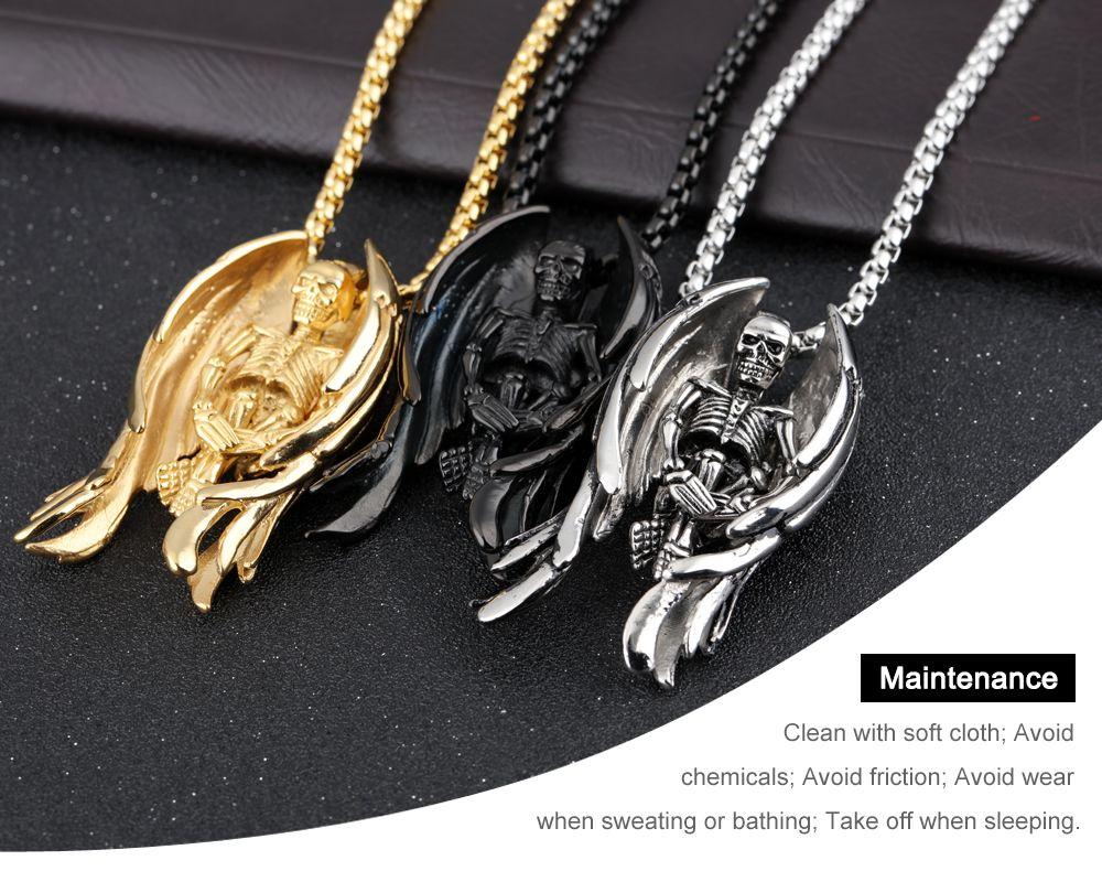 Skeleton Angel Wings Design Collar colgante para hombres punk Box cadena de enlace 316L Steel Music Carnaval Party Jewelry GX1099
