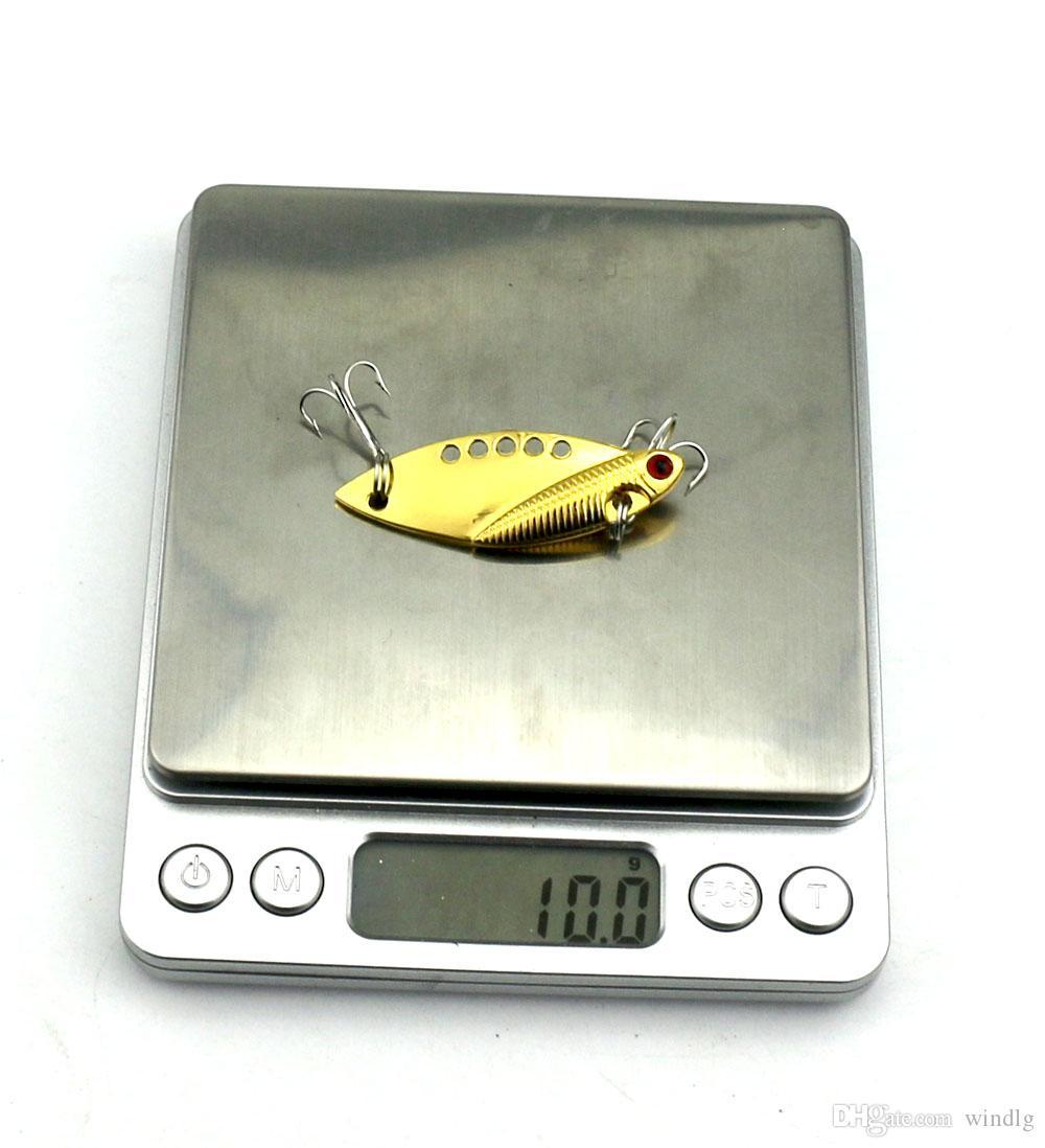 HENGJIA 진동 5CM 10G 금속 낚시 미끼베이스 VIB 금속 물고기 숟가락 미끼 균형 8 개 # 후크 파란색 빨간색 3d 눈을 미끼