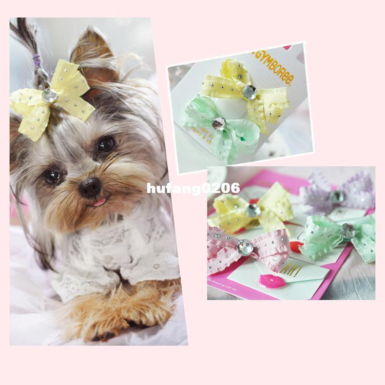 New Dog hair accessories acrylic diamond butterfly hairpin clip BB pet duck korean wholesale pet products pet grooming 20pcs