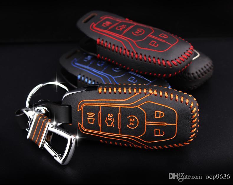 O envio gratuito de nova marca de couro genuíno remota cadeia de chave de carro de controle e Key Caso carteira Capa Bag Para Ford Mustang 2015