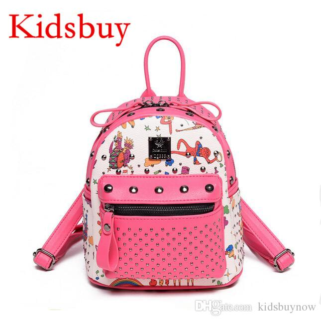 Kidsbuy Simple Stylish Backpacks For Childrens Baby Girls Leather Rivet  School Bags Kids Travel Bag Teenagers New Outdoor Backpacks KB071 Brands Of  ... 5b43c5d6e7e42