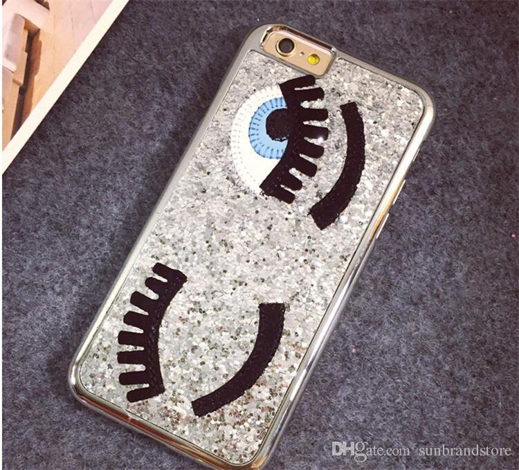 Luxury 3D Flirting Eyes Brilliant Miss Gossip Chiara Ferragni Glitter Plastic Mobile Phone Cases For iPhone 6 6s 4.7 inch