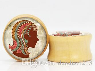 Envío gratis nueva llegada tapones de imagen de madera ear piercing body jewelry ear gauges túneles de moda piercings ear jewelry 12 constelaciones