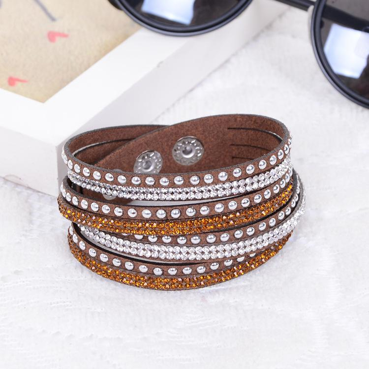 Fashion Multilayer Wrap Bracelet Rhinestone Slake Deluxe Leather Charm Bangles with Sparkling Crystal Wristband Women Christmas Gifts