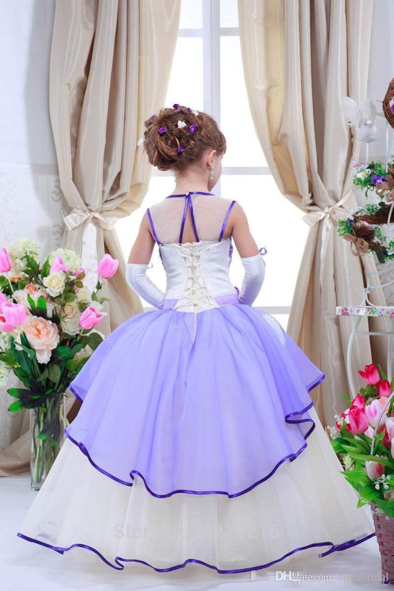Ballkleid lanvender Blumen-Mädchenkleider Sheer Neck Mannschaft-Spitze Pageant Kleider für Kinder Mädchen Kommunion-Kleider