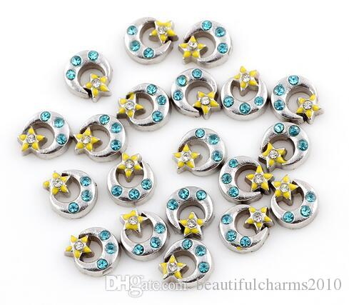 Crystal Moon Star Floating Locket Charms Fit For Glass Magnetic Memory Floating Locket Pendant Jewelrys Making