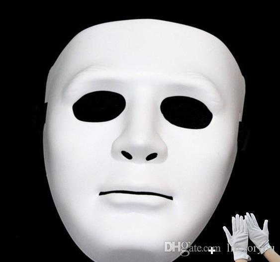 Festival de Navidad de Halloween Mascarada JabbaWockeeZ fiesta de baile hip-hop Decoración Adornos Accesorios de vestir Fantasma blanco Conjunto de guantes con máscara