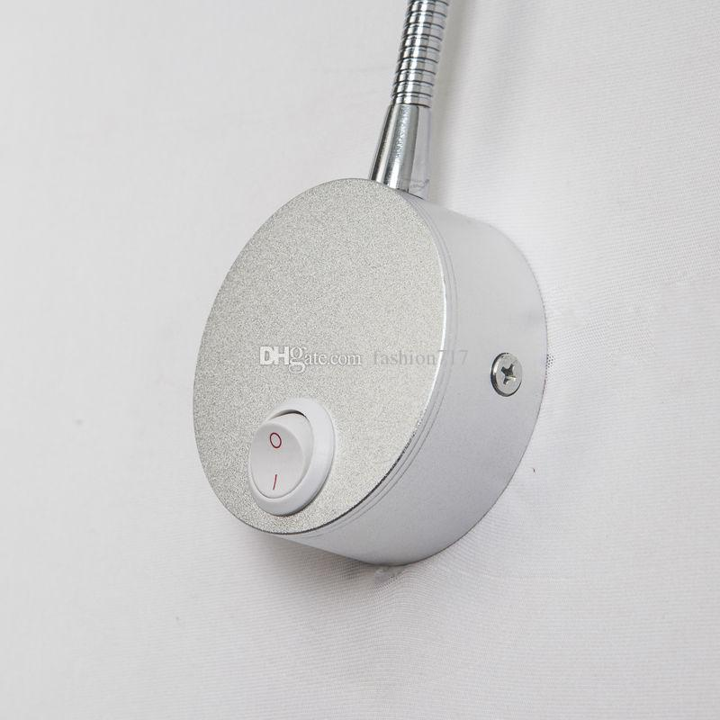 LED Silver Bedroom Bedside Lamp Reading Wall Lamps With Knob Switch 5W 90-260V Mirror Corridor Light Direction Adjustable