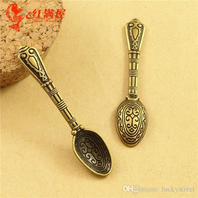 A3561 43*10MM Antique Bronze Vintage Retro jewelry accessories wholesale mini spoon charm pendant beads, decorative spoon for gifts