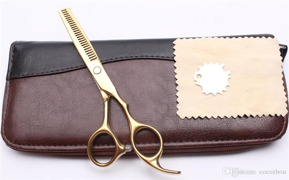 C1005 5.5 '' 16 cm Özelleştirilmiş Logo Altın Kuaförlük Makas Fabrika Fiyat Kesme Makas İnceltme Makası Profesyonel İnsan Saç Makas