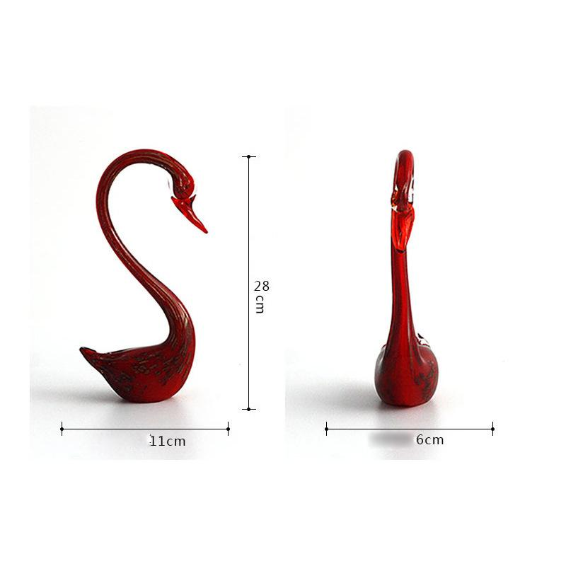 Couple Swans Ornaments Girlfriends Wedding Gift Glass Decoration Crafts Ornaments with Different Color for Marriage Room