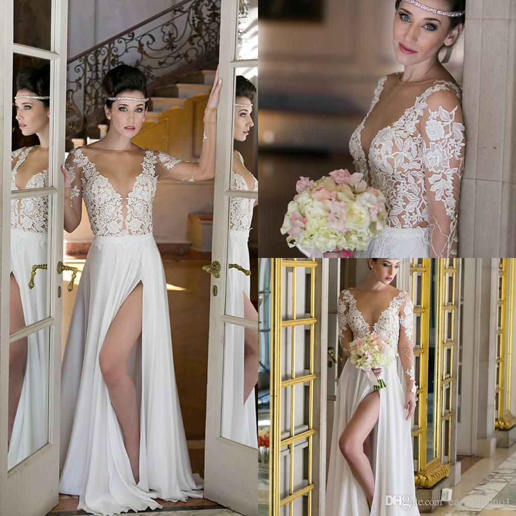 Discount Long Sleeve Lace Wedding Dresses 2017 New Simple: Discount 2017 New Simple Sheer Tulle Long Sleeves