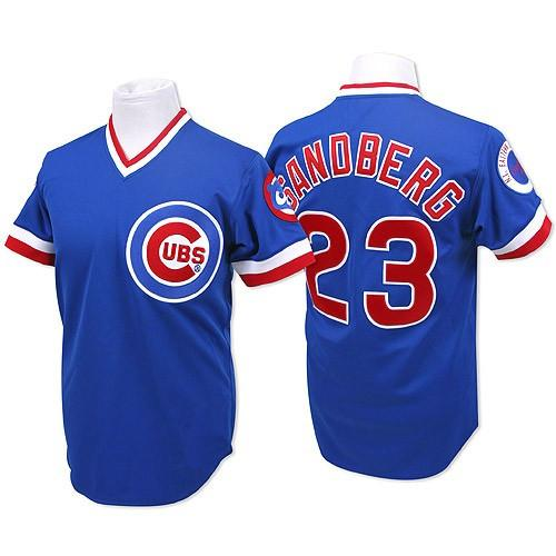 size 40 78062 e00a3 chicago cubs 23 ryne sandberg 1984 blue pullover throwback ...