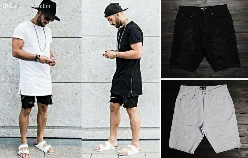 2017 Wholesale Hip Hop Clothing For Big Men 30 40 Mens Designer Urban Star  Skinny Destroyed Black/White Jeans Mens Ripped Denim Shorts From Honhui, ... - 2017 Wholesale Hip Hop Clothing For Big Men 30 40 Mens Designer
