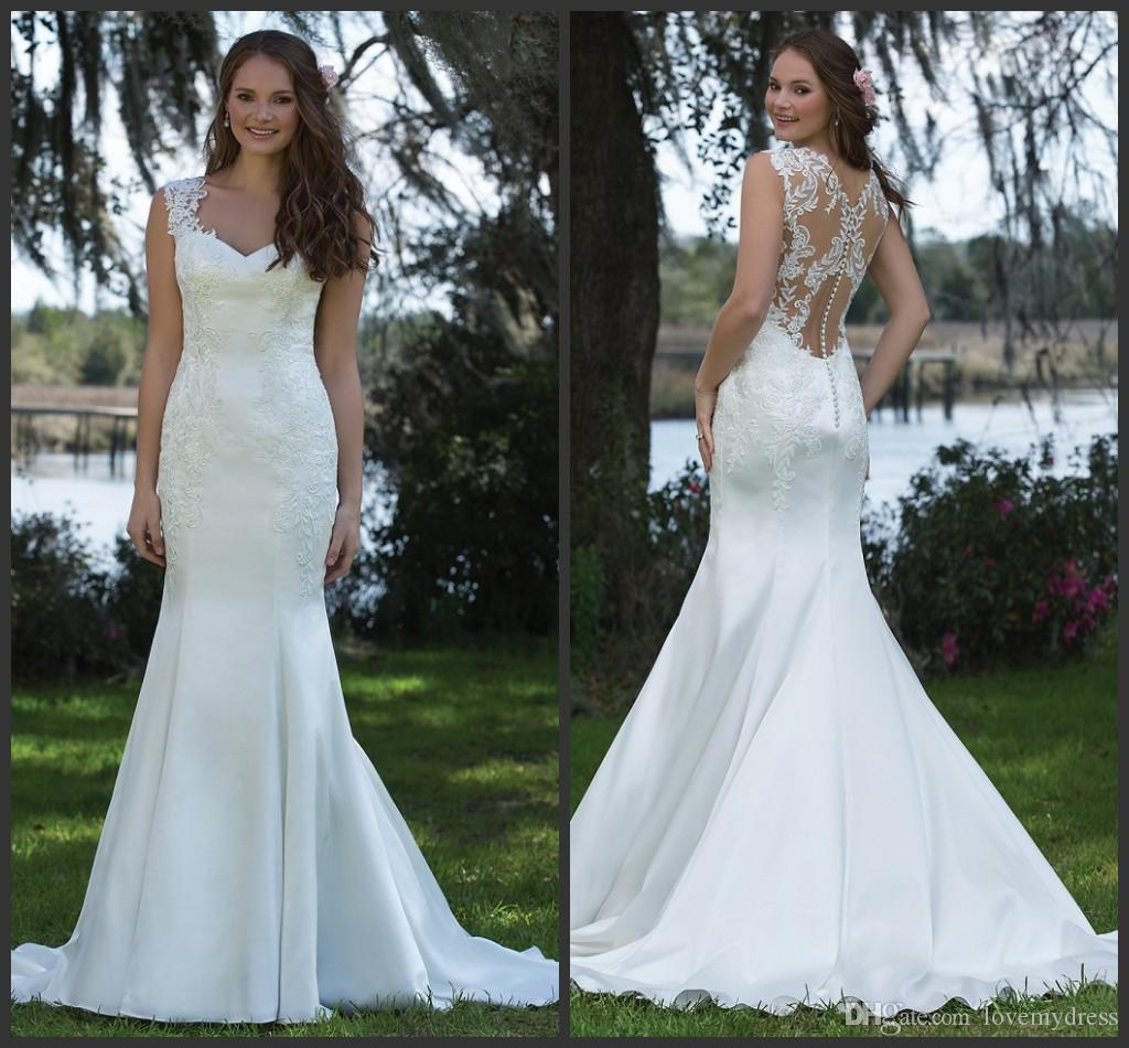 Sweep Train Bridal Gown Cheap Price Fashion Modest Elegant Iullsion Back Sexy Sleeveless Hot Sale High Lace Wedding Dress Designer Gowns
