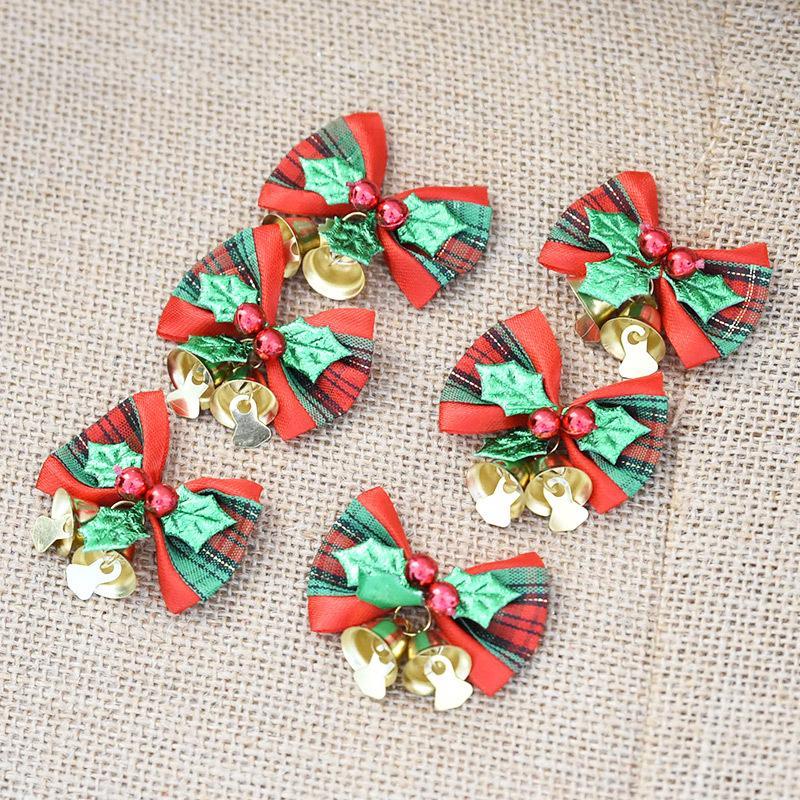 handmade christmas tree decorations xmas bowknot jingle bell