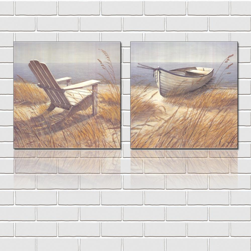 Unframed 2 Pieces art picture free shipping Canvas Prints Fresh oil painting chair Wooden boat House yard Bamboo White flowers