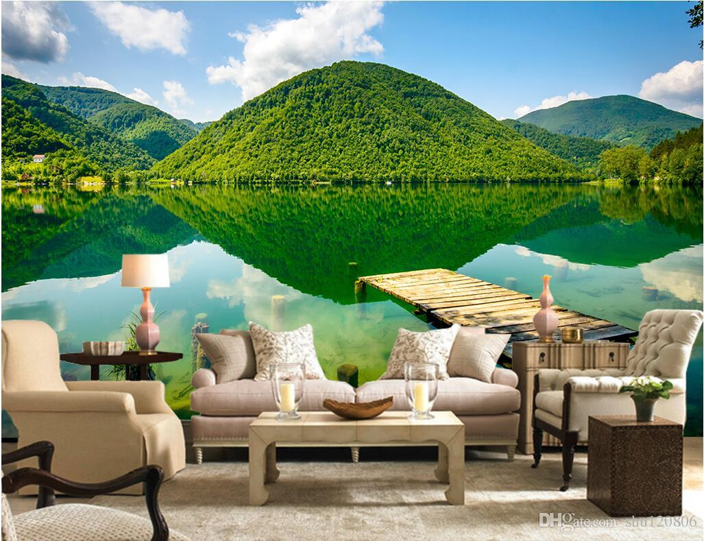 Custom 3d Nature Mural Wallpaper Nature Scenery For Walls: 3d Wallpaper Custom Photo Green Mountains And Green Lakes