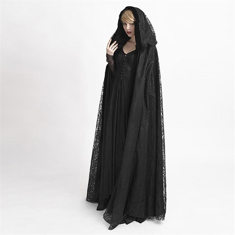 Gothic Black Hooded Lace Cape for Women Cardigan Oversized ...