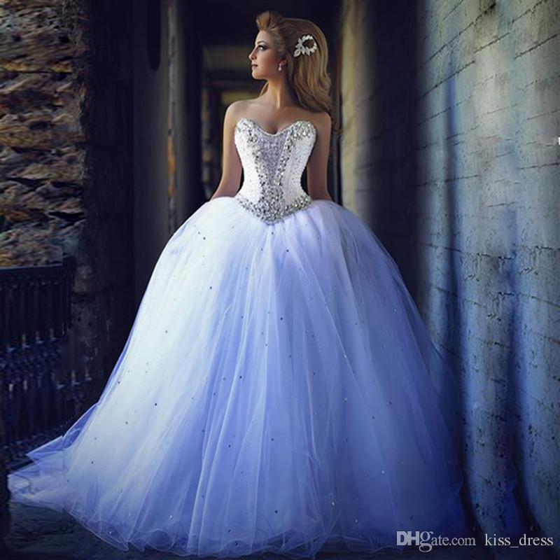 b03ebffccb6 Luxury Design Sparkling Ball Gown Princess Wedding Dresses Sweetheart Crystals  Beaded Tulle Court Train Bridal Gowns Custom Wedding Dresses Sale Wedding  ...