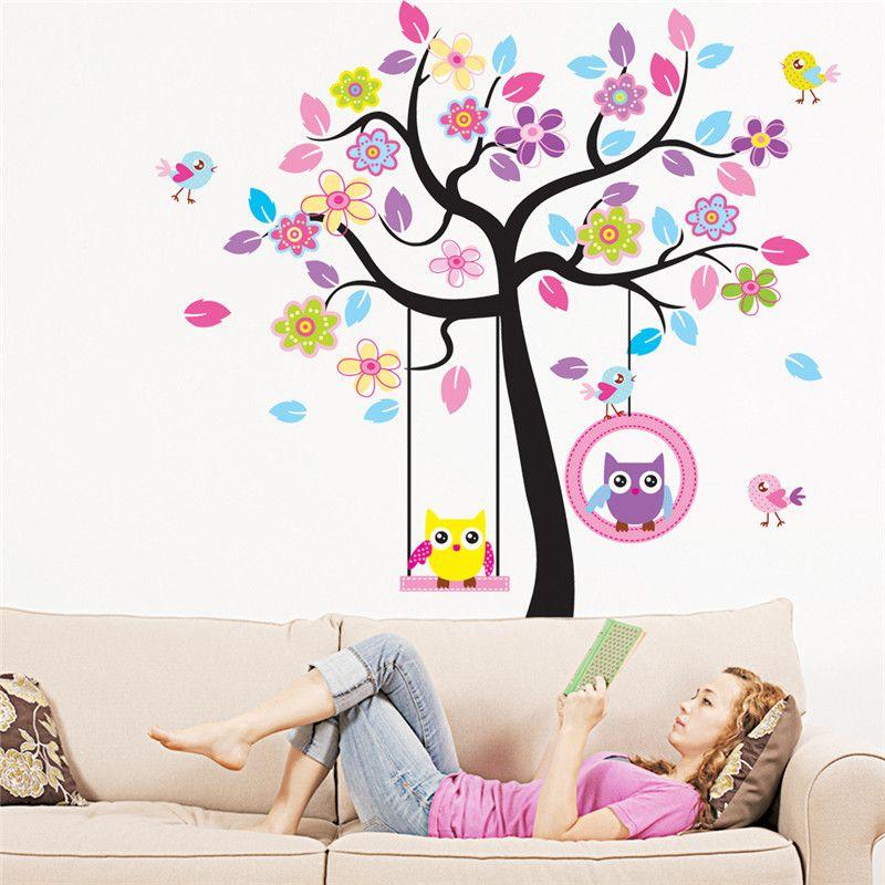 zn new owl bird swing tree wall stickers tree wall decals cartoon