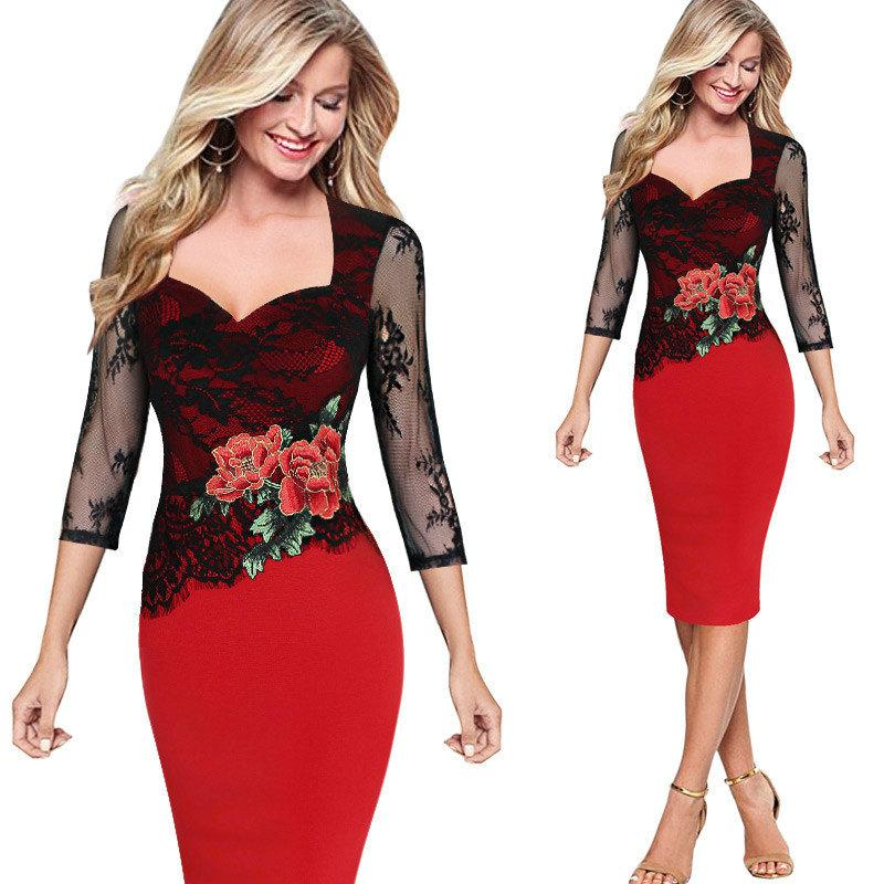 4b85b4e93b 2019 Lace Embroidered Three Quarter Sleeve Straight Dresses Summer Autumn  Ladies Formal Clothes Sexy Club Pencil Party Evening Dress From  Top youshanping
