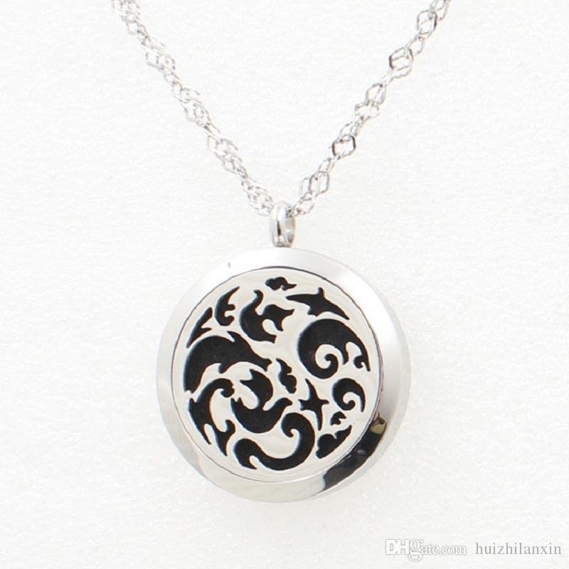 Pendente d'argento della collana dell'acciaio inossidabile del diffusore 30MM del pendente del pendente del medaglione del profumo delle onde d'argento con la catena dei rilievi