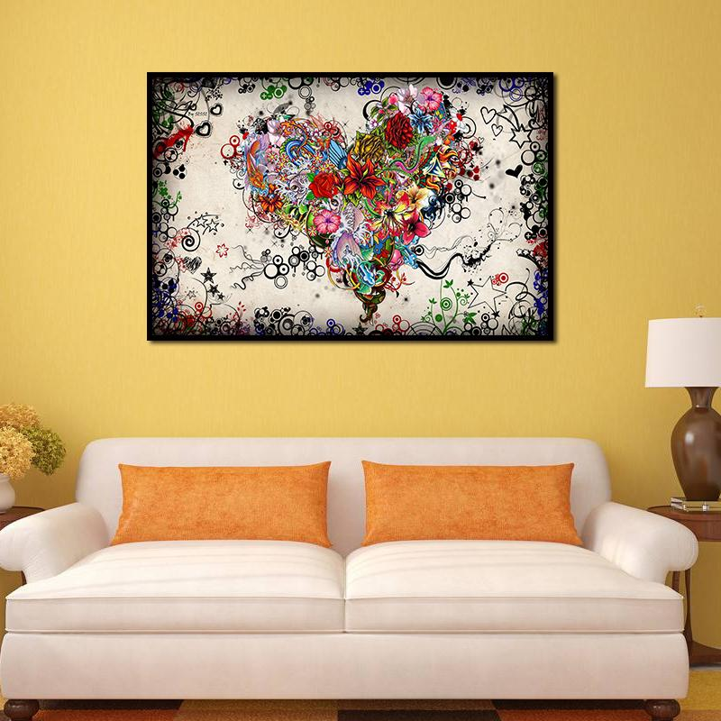 2018 Unframed Modern Oil Painting Colorful Flowers Heart Huge Wall